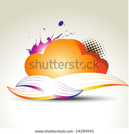 vector colorful cloud with abstract design - stock vector