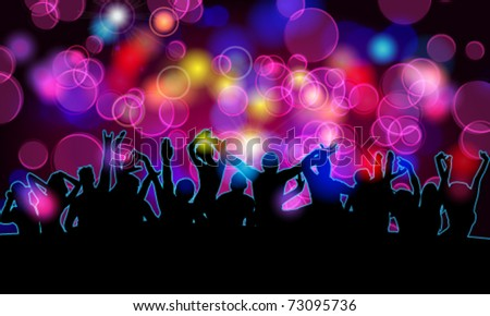 Vector colorful crowd of party people silhouettes background - stock vector