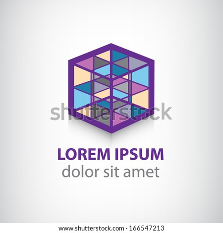 vector colorful cube construction logo isolated - stock vector