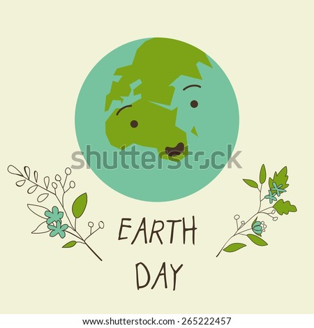Vector colorful cute card with planet on Earth Day - stock vector