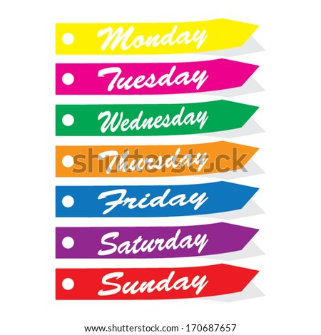 Vector: Colorful 7 days of week from Monday to Sunday tags and stickers. Eps10.  - stock vector