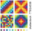 Vector Colorful Design Elements - four seamless mosaic patterns and set of shine square tiles - stock vector