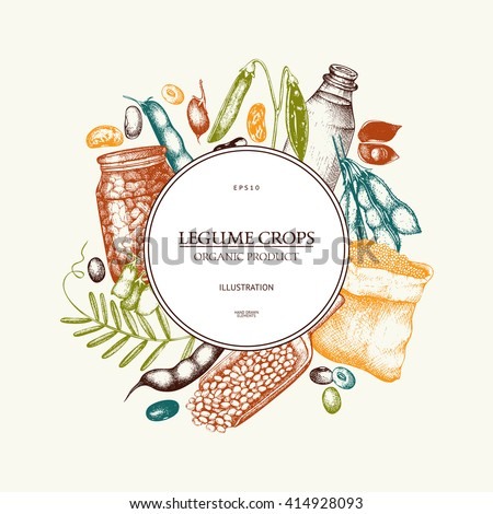 Vector colorful design with ink hand drawn legume crops sketches. Vintage illustration with legumes and legume products. Farm fresh and organic food template. - stock vector