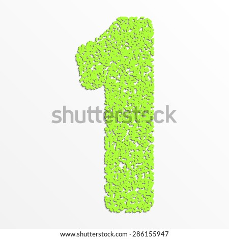 Vector colorful digits with grain texture, digit one - stock vector