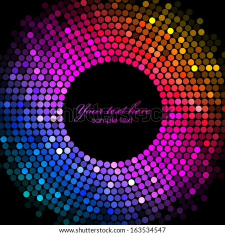 Vector colorful disco lights frame - stock vector
