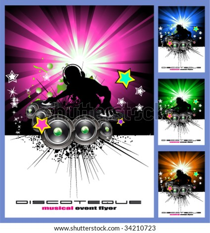 VECTOR Colorful Disk Jockey Musical Event  Background for Disco Flyer - stock vector