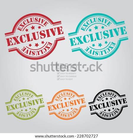 Vector : Colorful Exclusive Stamp, Icon, Sticker, Badge or Label Isolated on White Background  - stock vector
