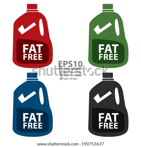 Vector : Colorful Fat Free Milk in Gallon Icon or Label Isolated on White Background - stock vector