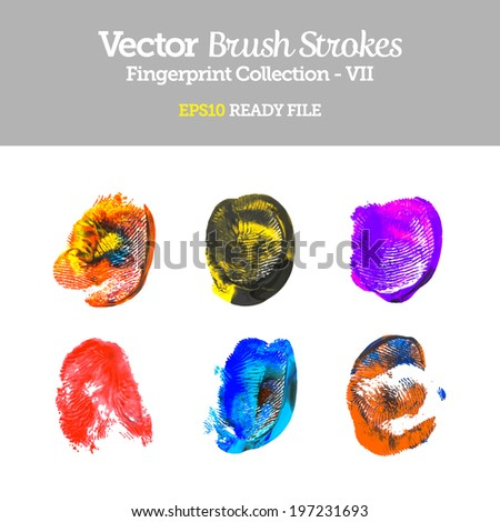 Vector Colorful Fingerprint Collection EPS10 Ready File - stock vector