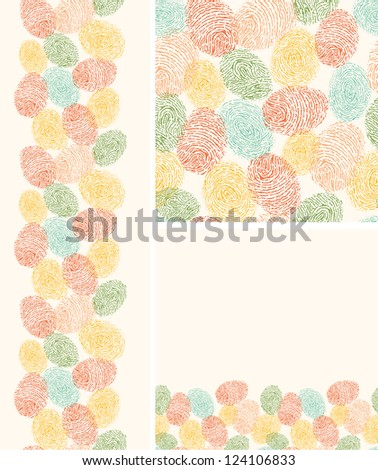 Vector colorful fingerprints seamless pattern background with hand drawn elements. - stock vector