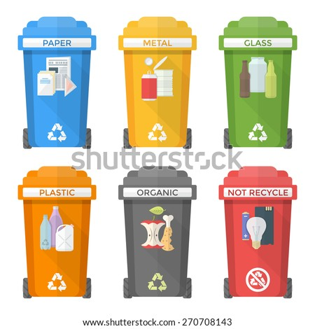 vector colorful flat design separated recycle waste bins icons labels signs white background long shadows