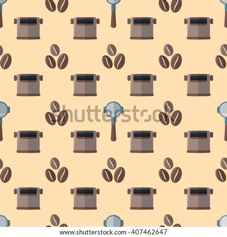 vector colorful flat design various brown coffee beans portafilter device knock box deco seamless pattern beige background