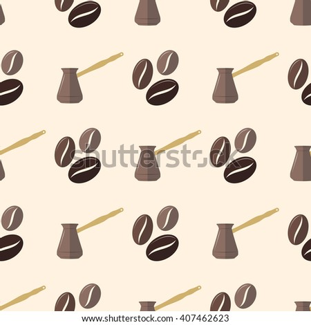 vector colorful flat design various brown coffee beans turk pot deco seamless pattern beige background