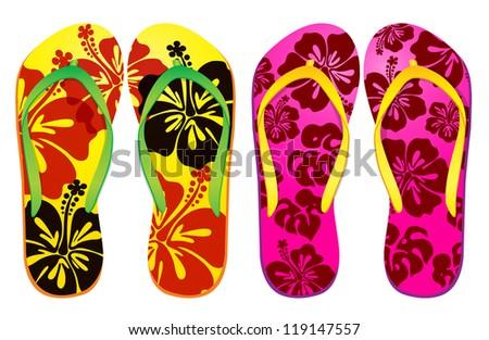 Vector colorful flip flops ( hibiscus flower Design ) / Beach Sandals - stock vector