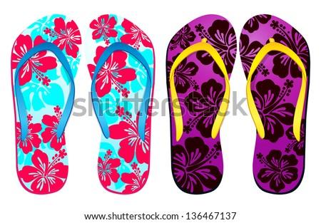 Vector colorful flip flops / ( hibiscus flower Design ) / Beach Sandals - stock vector