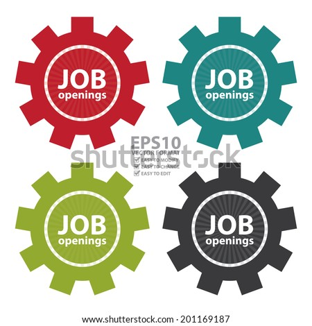 Vector : Colorful Gear Job Openings Icon or Label Isolated on White Background - stock vector