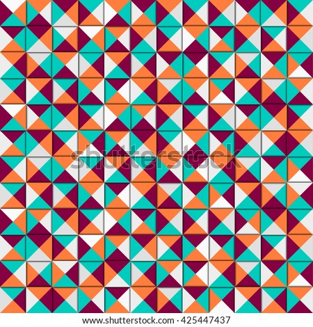 Vector colorful geometric pattern. Colorful geometric texture. Vector design background. Artistic vintage pattern. Business  cover. Vector light holiday card.  Orange background. Fashion background. - stock vector