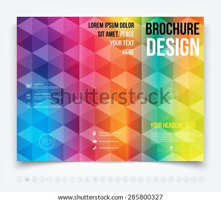 Vector colorful geometric tri-fold brochure design template - stock vector
