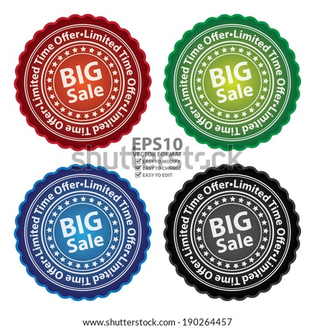 Vector : Colorful Glossy Style Big Sale, Limited Time Offer Sticker, Label, Tag or Icon Isolated on White Background - stock vector
