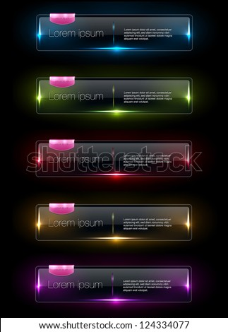 Vector colorful glowing glass banners collection with pink plastic tags - stock vector