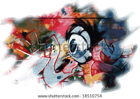 Vector colorful graffiti style eyeball and design - stock vector