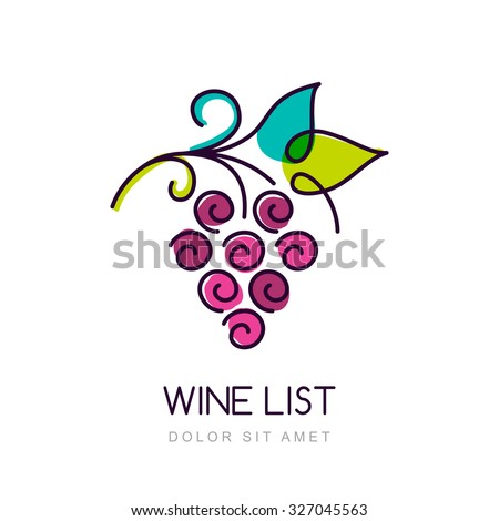 Vector colorful grape vine logo design template. Concept for organic products, harvest, healthy food, wine list, menu.