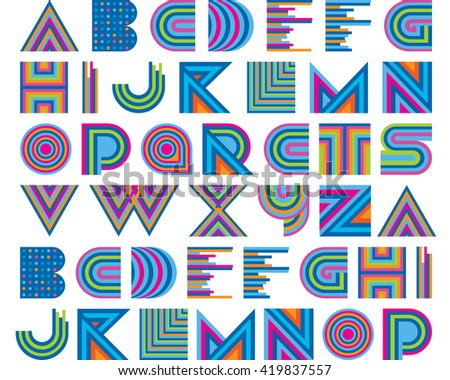 Vector Colorful Graphic Alphabet Set  - stock vector