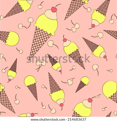 Vector colorful hand drawn cartoon waffle ice cream with cherries  and sweat cream seamless pattern - stock vector