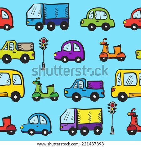 Vector colorful hand drawn doodle cartoon cars seamless pattern - stock vector