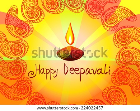 Vector colorful Happy Deepavali diya illustration with paisleys circle. Bright greeting card with text for festival of light celebration in India. For print, web page design, decoration, invitation. - stock vector