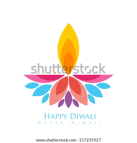 vector colorful happy diwali greeting - stock vector
