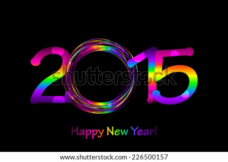 Vector colorful 2015 Happy New Year background - stock vector
