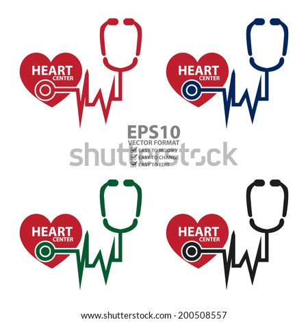 Vector : Colorful Heart Center Icon or Label Isolated on White Background - stock vector
