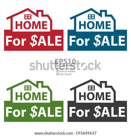 Vector : Colorful Home for $ale Icon, Sign or Label Isolated on White Background  - stock vector