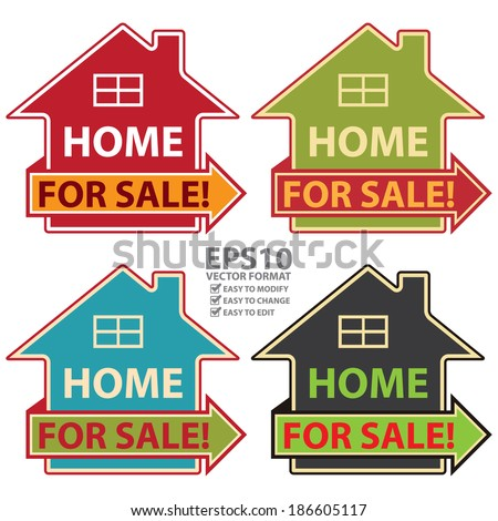 Vector : Colorful Home For Sale Icon or Label Isolated on White Background - stock vector
