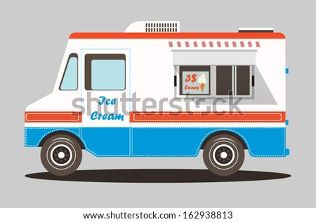 Vector colorful ice cream truck - stock vector