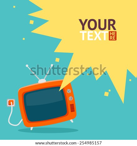 Vector colorful illustration in flat design style. Red retro tv with wire card, place for your text - stock vector