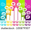 Vector colorful illustration of a city with social media speech bubble icons. - stock vector