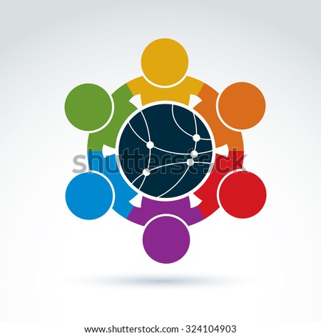 Vector colorful illustration of people standing around network sign, management team. Global business conceptual icon. Connection idea. - stock vector