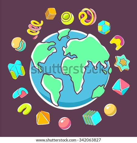 Vector colorful illustration of planet Earth on dark background with abstract elements. Hand draw line art design for web, site, advertising, banner, poster, board, brochure and print. - stock vector