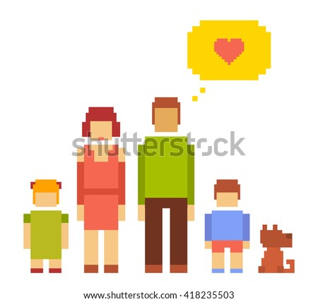 Vector colorful illustration of small girl, boy, dog, woman and man happy family couple on white background. Typical people family together concept. Retro flat 8-bit pixel art design of family theme - stock vector