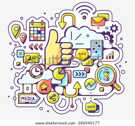 Vector colorful illustration of social media and thump up on light background. Hand draw line art design for web, site, advertising, banner, poster, board and print.  - stock vector