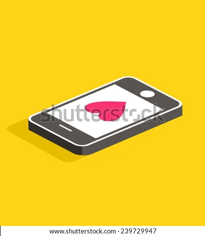 Vector colorful illustration with smart phone and message. Love you. - stock vector