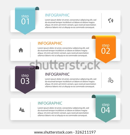 Vector colorful info graphics for your business presentations. Can be used website layout, numbered banners, diagram, horizontal cutout lines, web design. - stock vector