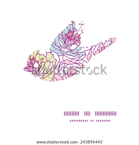 Vector colorful line art flowers bird silhouette pattern frame - stock vector