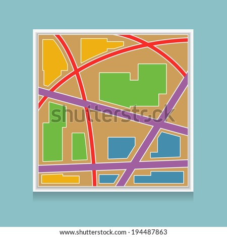 Vector colorful map icon - stock vector