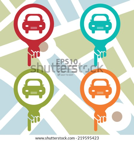 Vector : Colorful Map Pointer Icon With Car or Car Parking Sign in POI Map background - stock vector