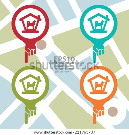 Vector : Colorful Map Pointer Icon With Dog Hotel, Dog Welcome or Pet Care Service Sign in POI Map Background  - stock vector