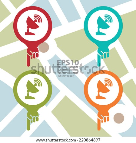 Vector : Colorful Map Pointer Icon With Satellite Station and Satellite Dish Service Sign in POI Map Background - stock vector