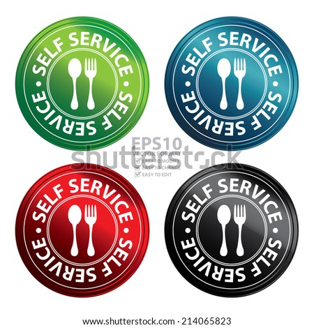 Vector : Colorful Metallic Style Circle Self Service Food Station Icon, Button, Sticker or Label Isolated on White Background  - stock vector